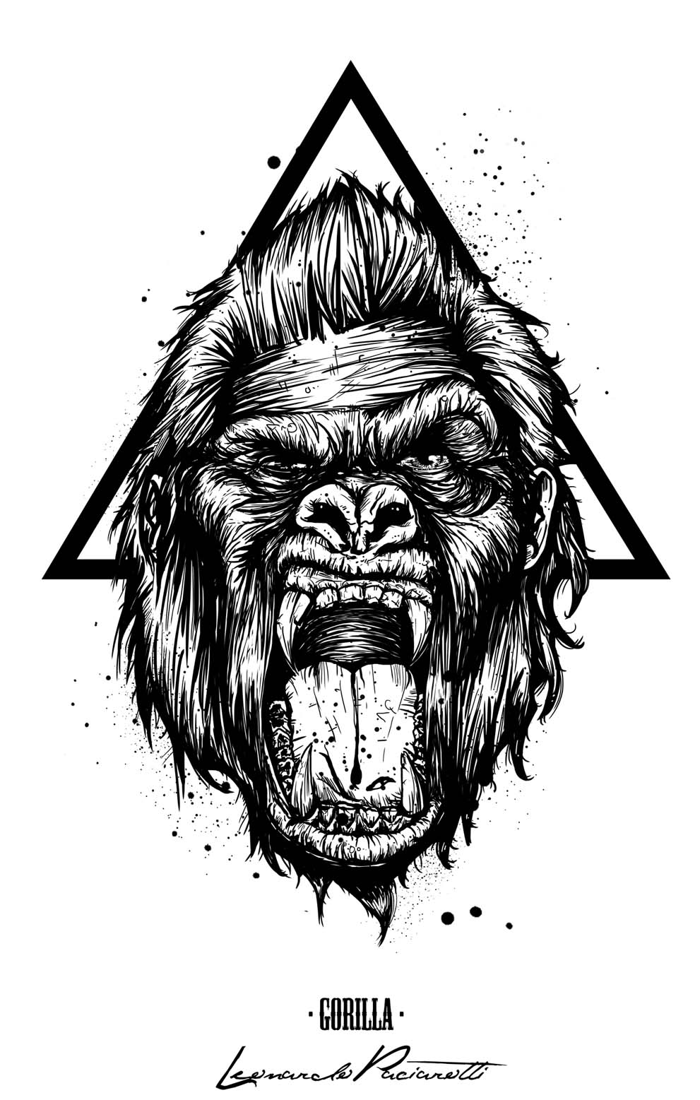 angry gorilla head drawing - photo #12